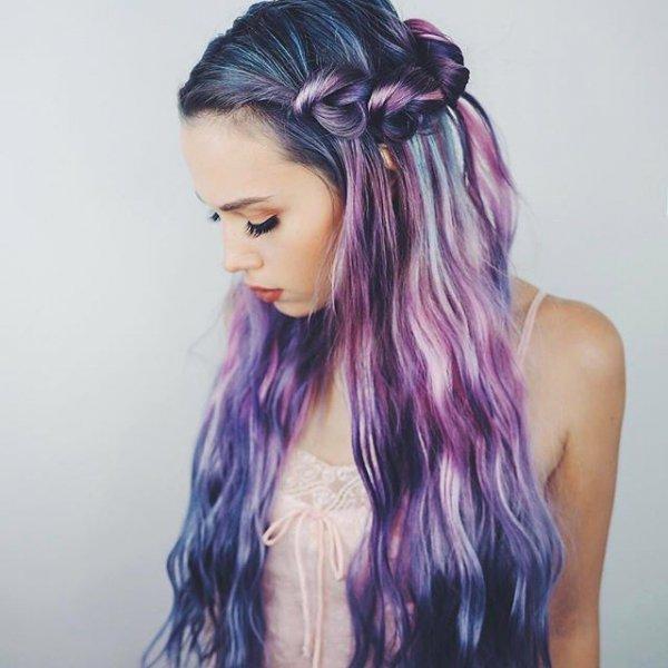 hair, purple, hairstyle, black hair, hair coloring,
