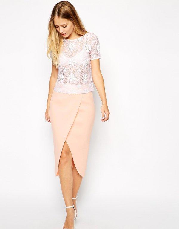 ASOS Wrap Pencil Skirt in Bonded Scuba