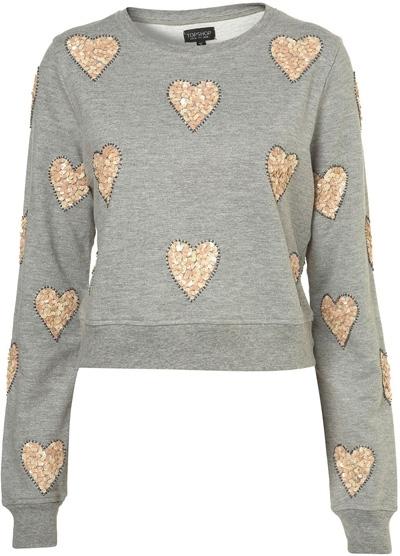 Topshop Grey Marl Sequin Heart Embellished Sweat Shirt