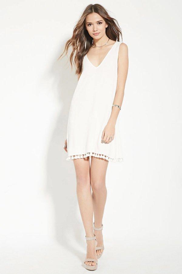Contemporary Tassled-Hem Dress