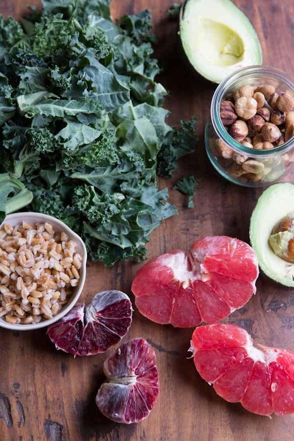 Raw Kale, Grapefruit and Toasted Hazelnut Salad