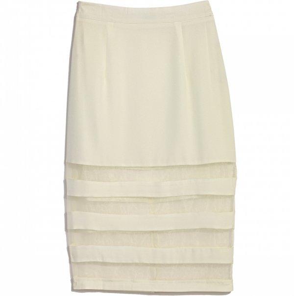 MARSHALLS Cream Mesh Skirt