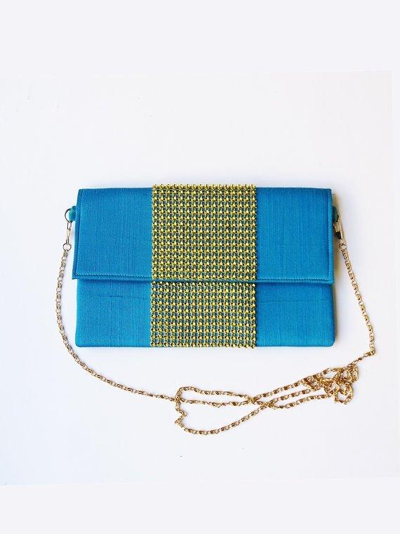 Light Blue Gold Silk Embellished Envelope Clutch Bag