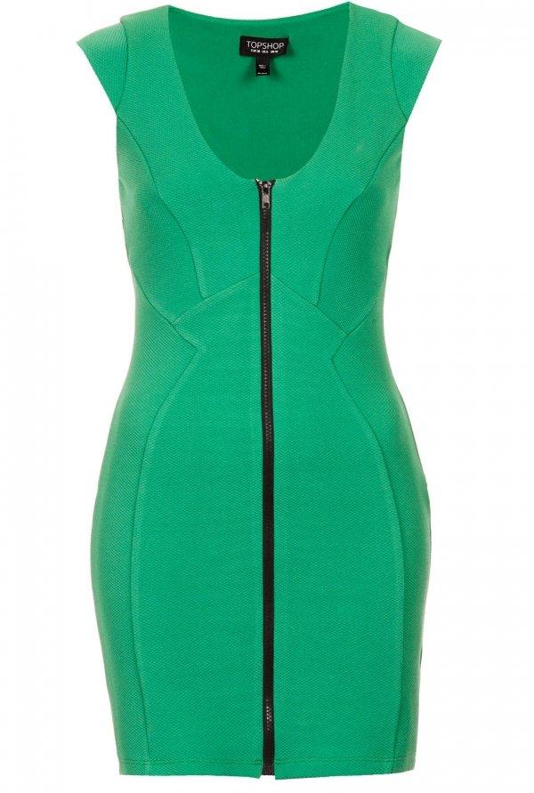Topshop Zip Front Bodycon Dress
