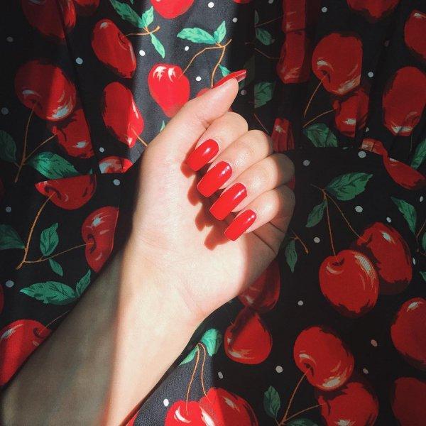 red, nail, finger, hand, nail care,