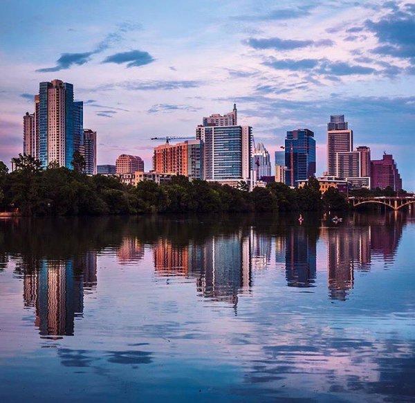 reflection, skyline, cityscape, city, sky,
