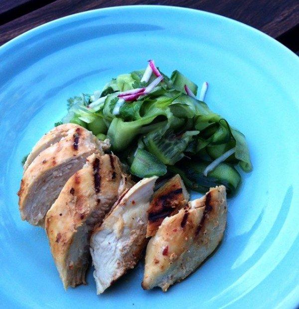 Grilled Spiced Yoghurt Chicken with Cucumber Salad