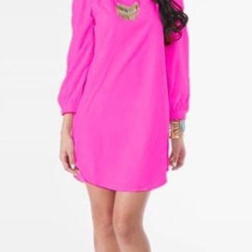 Bright Neon Pink Loose Long Sleeve Sexy Boho Mini Shift Dress