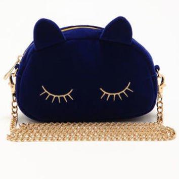 Sapphire Blue Cat Clutch