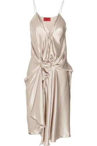 Lanvin Draped Silk-Satin Dress