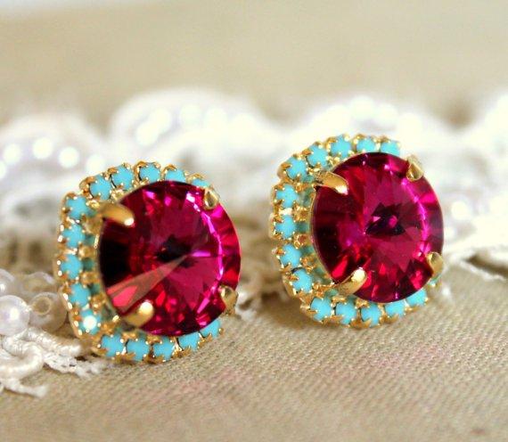 Crystal Stud Big Pink Earring
