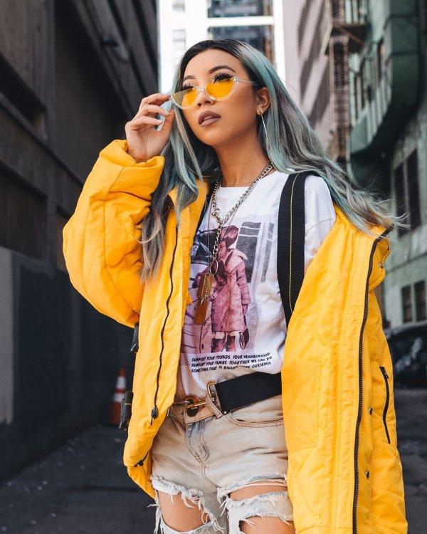 Street fashion, Yellow, Orange, Clothing, Fashion,