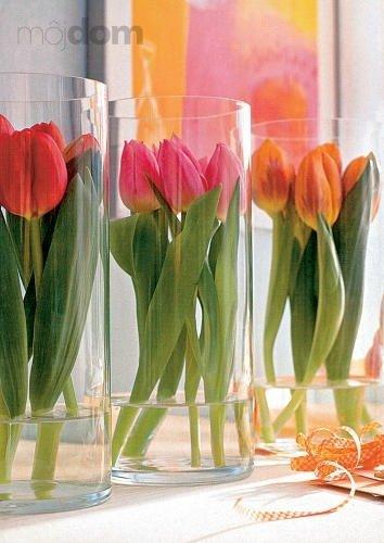 Tulips Surrounded by Cylindrical Vase