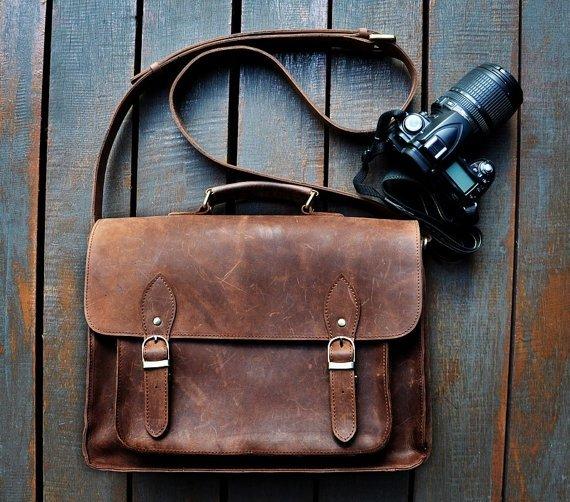 Handmade Leather DSLR Camera Bag