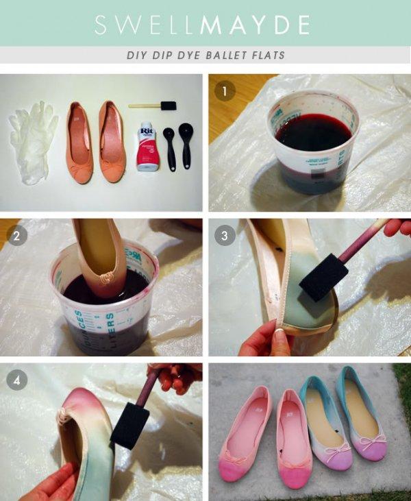 Dip Dye Ombre Ballet Flats
