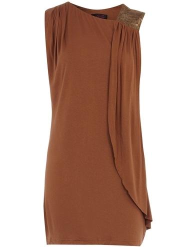 Dorothy Perkins Tobacco Draped Dress