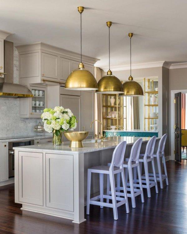 Gold Overhead Kitchen Lights