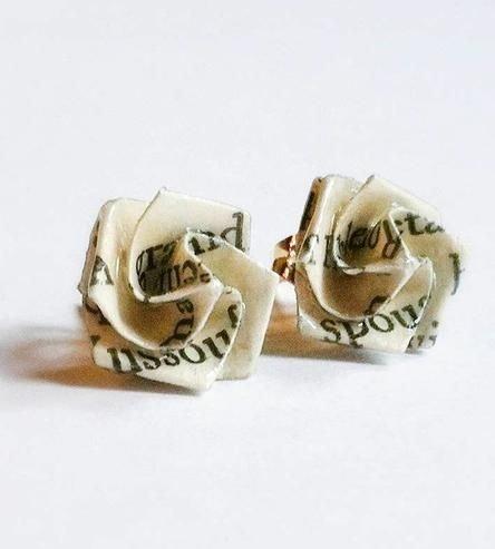 Literary Origami Rose Earrings