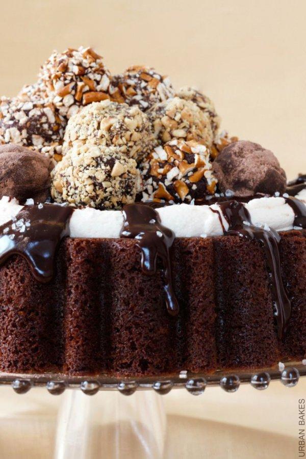 Truffle Chocolate Cake with Irish Whiskey Ganache and BAILEYS Buttercream Frosting