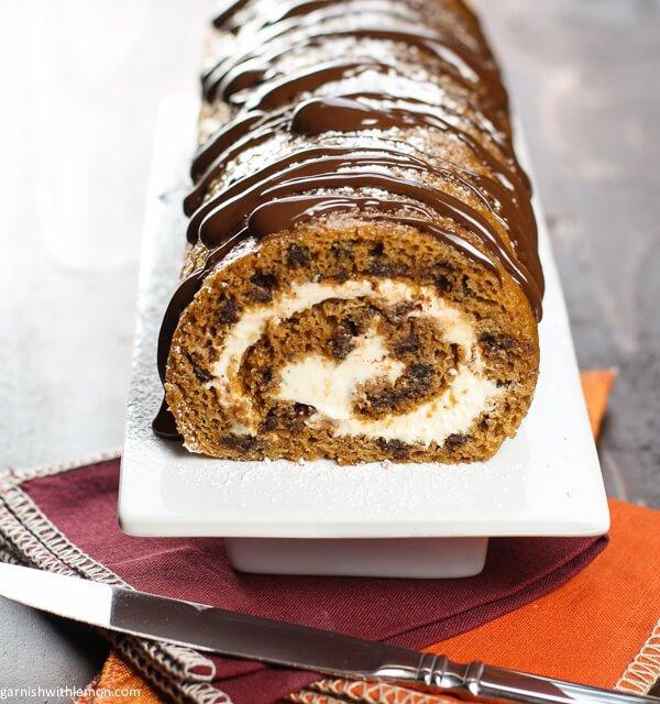 Chocolate Chip-pumpkin Roll