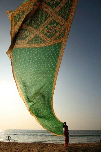 Woman Drying Her Sari on Konark Beach, Odisha