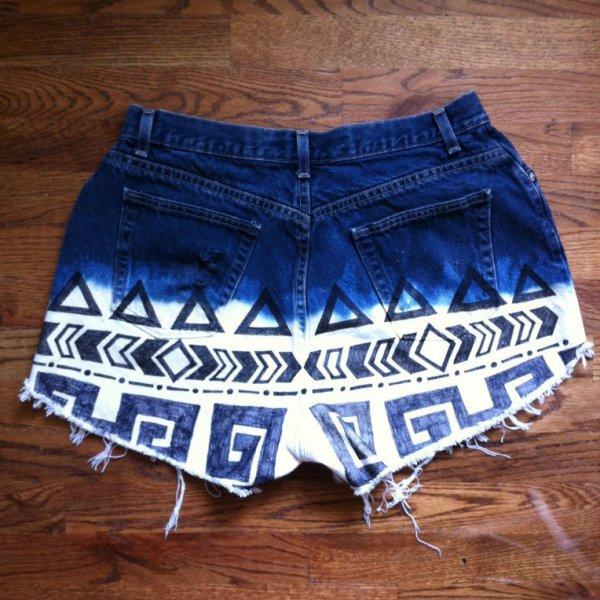 Ombre Patterned Denim Shorts