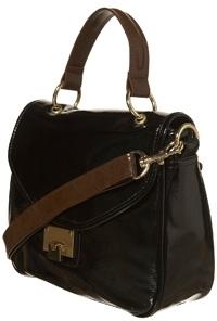 Topshop Black Patent Lock Contrast Handle Bag