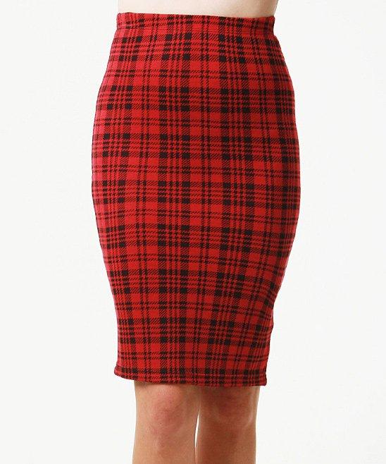 April Spirit Red Plaid Pencil Skirt