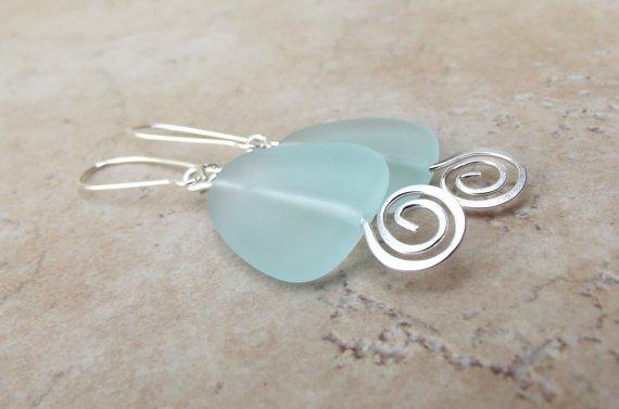 Geometric Earrings: Aqua Sea Glass & Hammered Silver Swirl Beach Jewelry