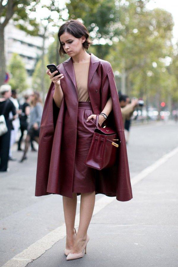 Miroslava Duma in Oxblood Leather