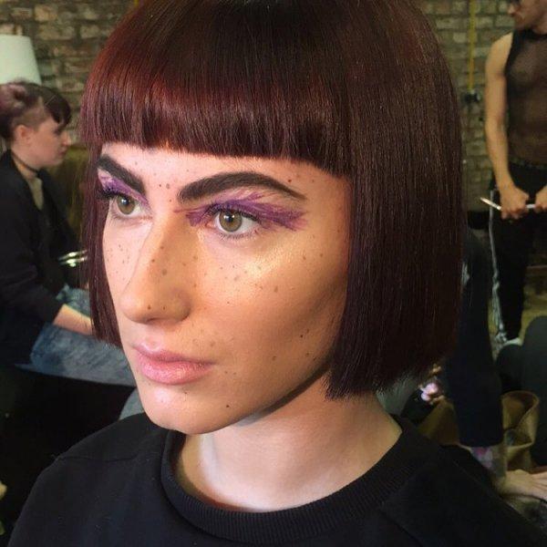 Her Purple Liner & Fake Freckles