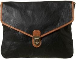 Topshop Black Oversize Leather Pushlock Clutch Bag
