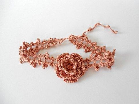 Copper Rose Crochet Choker