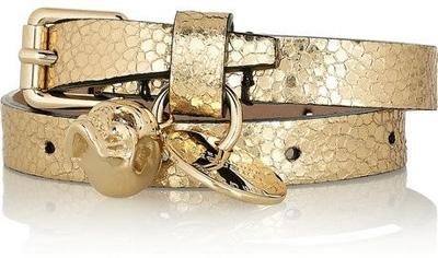 Alexander McQueen Cracked Leather Skull Bracelet