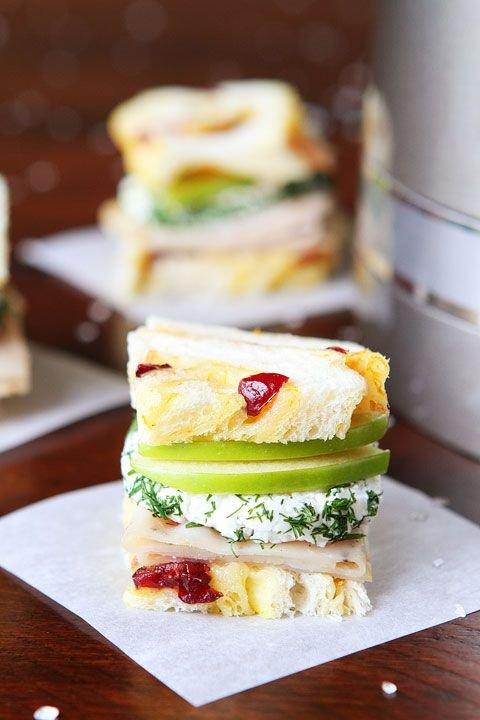 Turkey and Apple Goat Cheese Tea Sandwiches