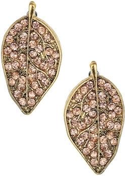 Topshop Rhinestone Leaf Stud Earrings