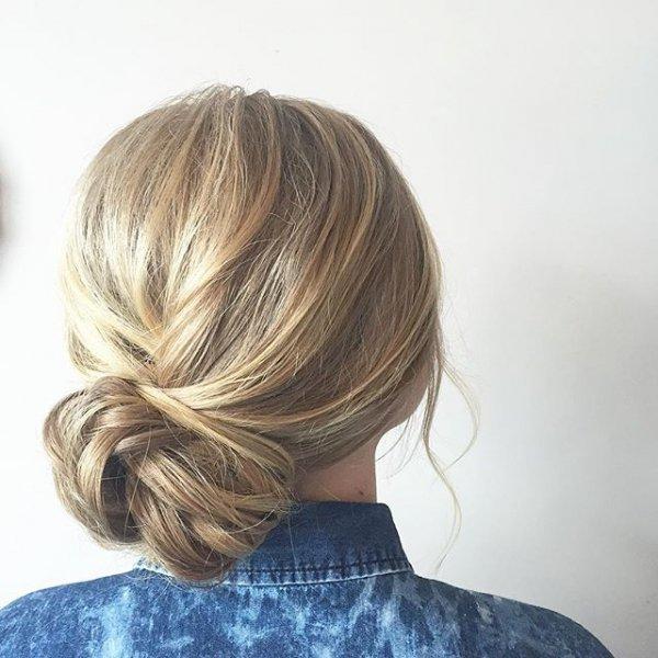 hair, hairstyle, blond, bangs, bun,