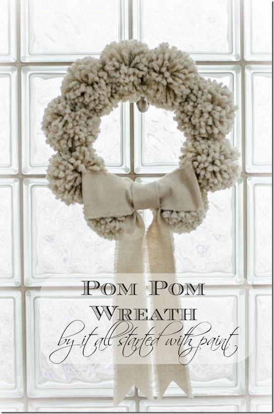 Pom Pom Winter Wreath