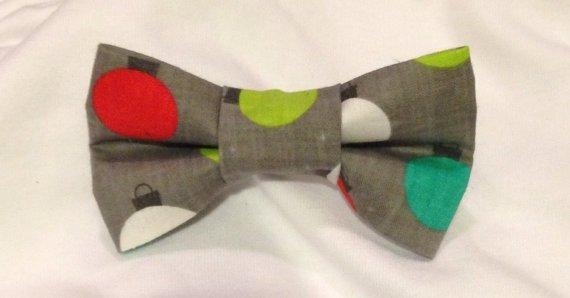 Gray Christmas Bow Tie