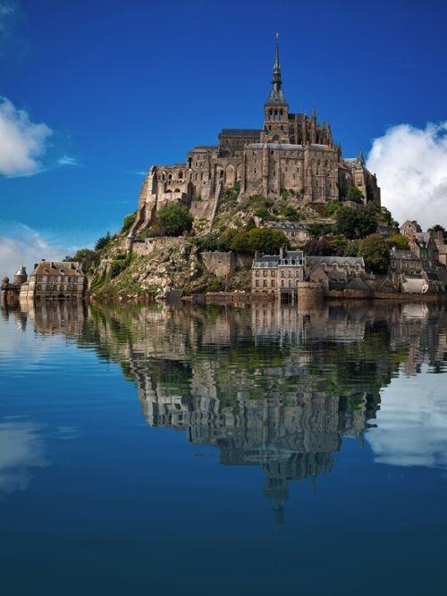 Mont Saint-Michel,reflection,historic site,landmark,building,