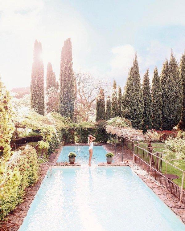 swimming pool, estate, flower, lake, waterway,