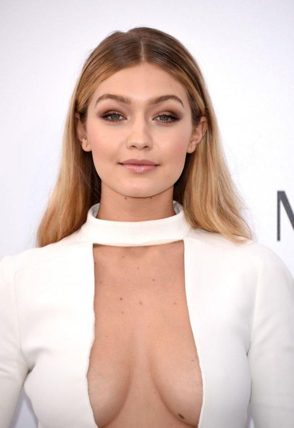 Gigi Hadid's Full Eyebrows and Gold Eye Makeup