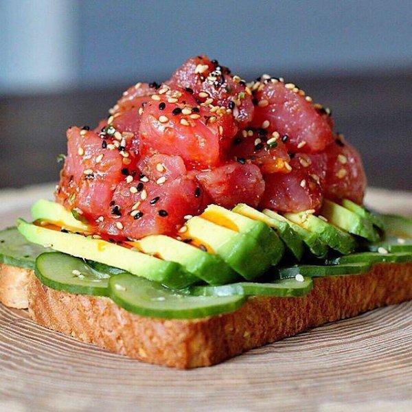 food, dish, produce, smoked salmon, bruschetta,