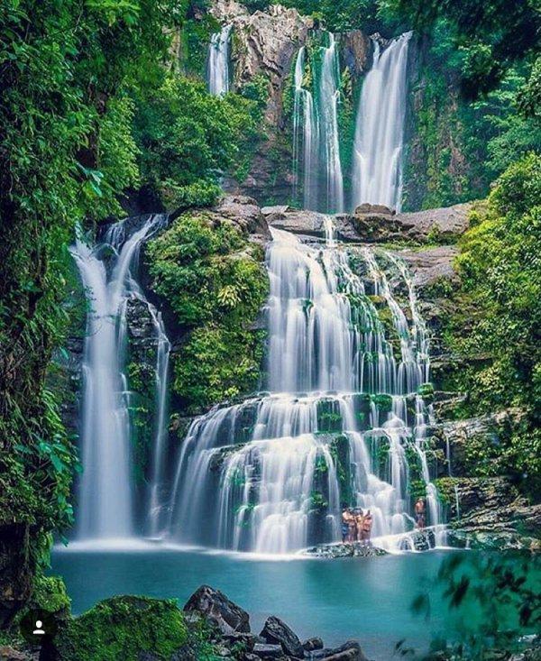 waterfall, water, nature, body of water, green,