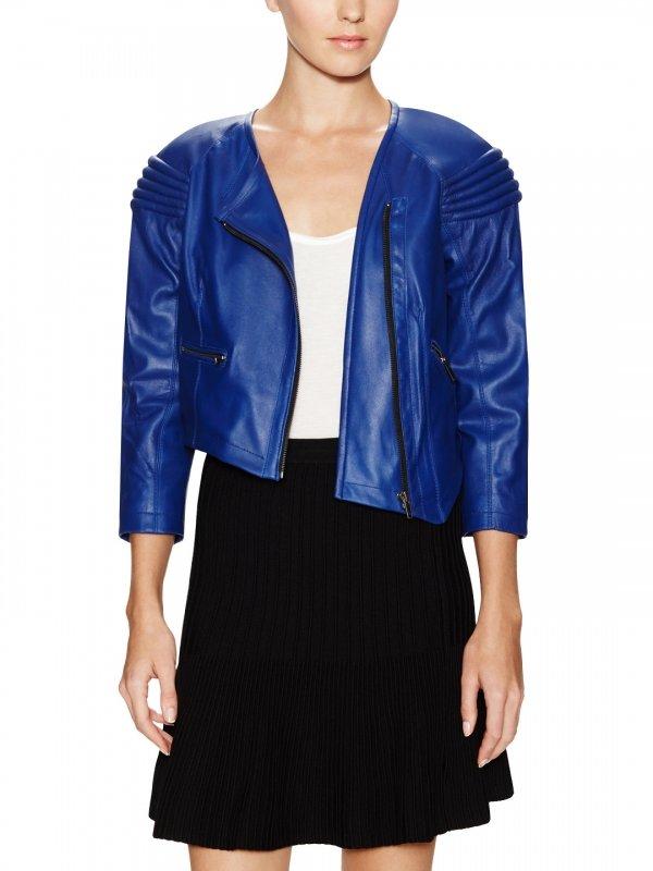 Leather Asymmetric Cropped Jacket