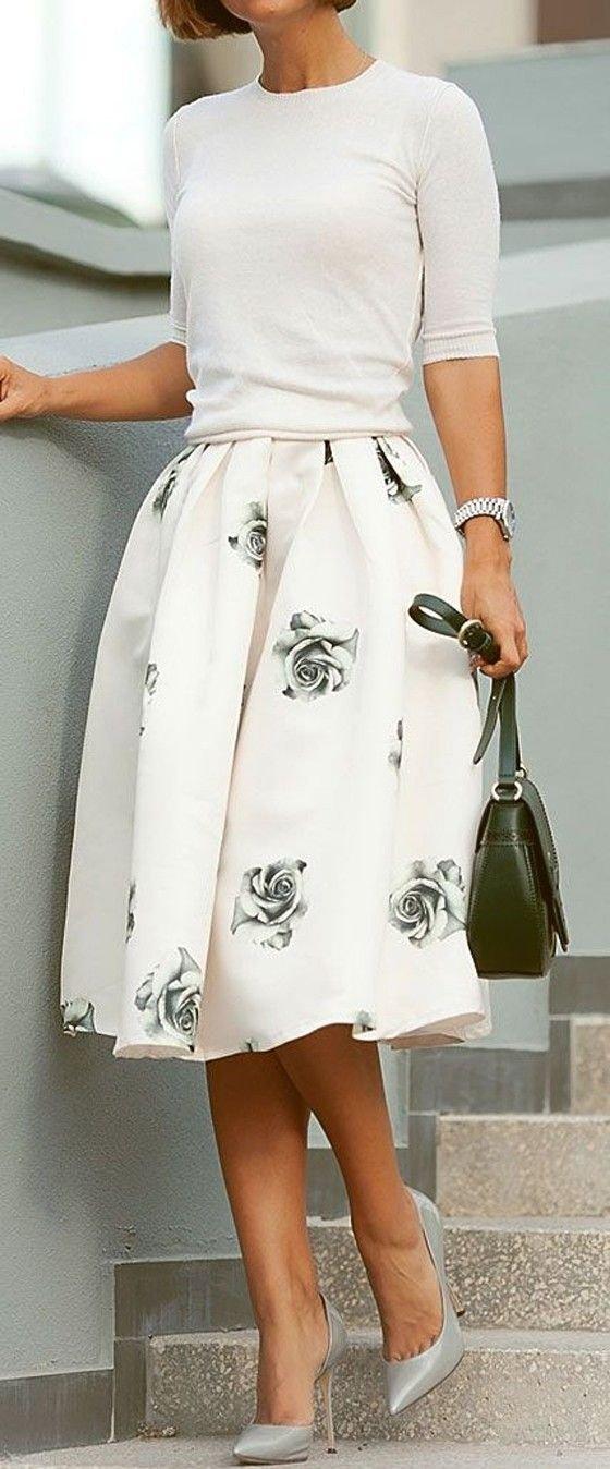 Grey Rose Midi Skirt