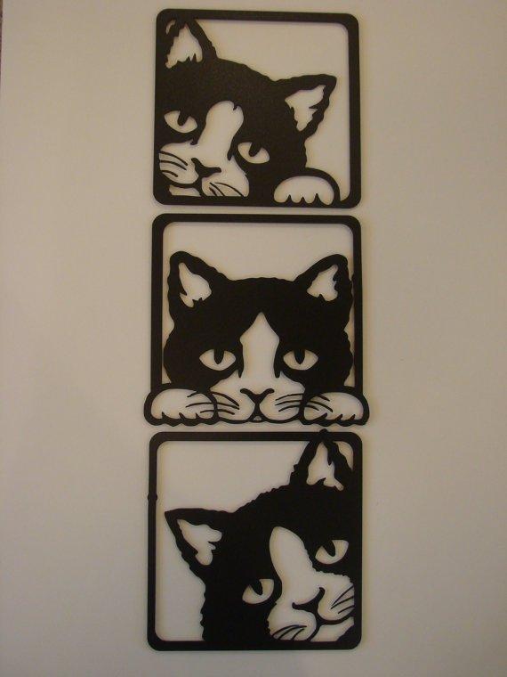 Cats Peeking 3 Piece Set Metal Wall Sculpture