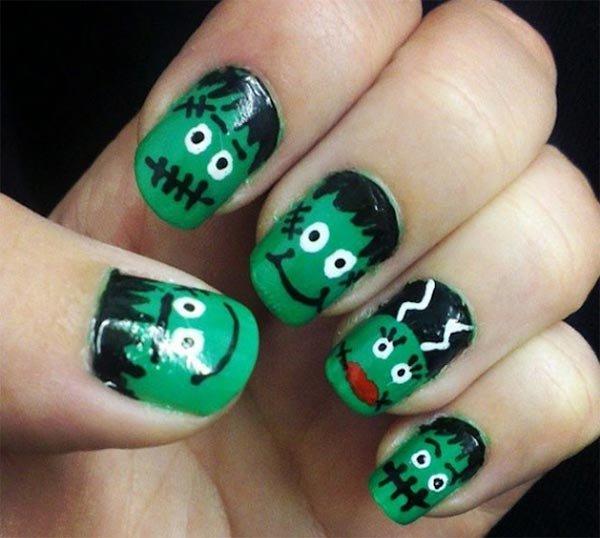 Halloween Frankenstein Nail Design For Short Nails 101 Nail Art