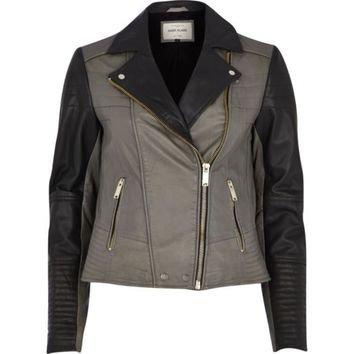 River Island Women's Dark Grey Color Block Leather Biker Jacket