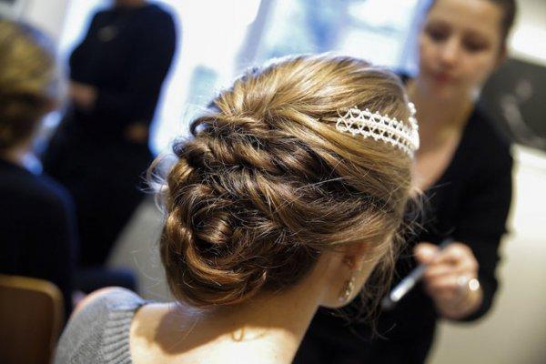hair, hairstyle, long hair, chignon, bride,